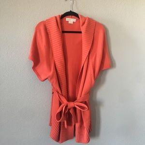 MICHAEL KORS • NWT Orange Tied Hooded Cardigan